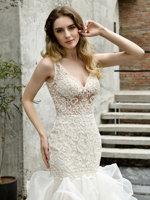 Wedding Bridal Gowns Mermaid Sleeveless V Neck Lace Bridal Gowns With Train_2