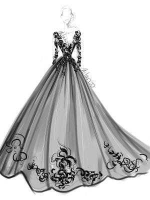 Vestidos de novia negros Encaje Princesa Silueta Mangas largas Cintura natural Encaje Corte tren Vestido de novia_6