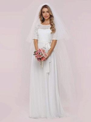 Weißes Einfaches Brautkleid Chiffon Jewel Neck Kurze Ärmel Schärpe A-Linie Lange Brautkleider_7