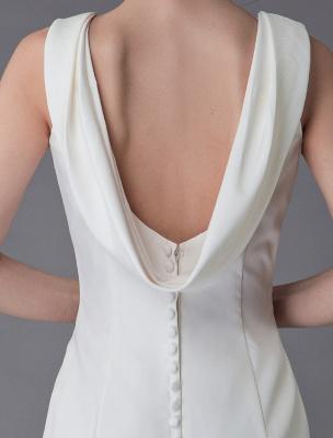Brautkleider Elfenbein Mantel Einfaches Brautkleid mit Wasserfallausschnitt Strandhochzeitskleider mit Zug Exklusiv_9
