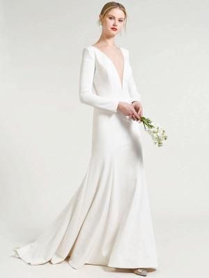 Weißes einfaches Hochzeitskleid Hof-Zug-Satin-Stoff V-Ausschnitt 3/4 Ärmeln Meerjungfrau Brautkleider_2