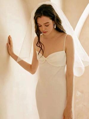 Weißes einfaches Brautkleid aus Polyester mit Ausschnitt Spaghetti-Trägern Schleifen Polyester-Mantel Bodenlange Brautkleider_4