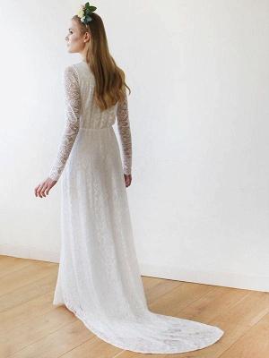 Robe de mariée en dentelle avec train A-ligne manches longues col en V robes de mariée ivoire_2