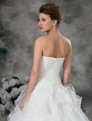 Glamouröses Elfenbein Gerafftes Herzausschnitt A-Linie Brautkleid aus Organza_6