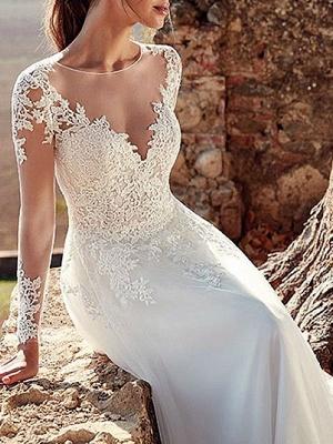 Wedding Dress 2021 V Nevk A Line Long Sleeve Floor Length Lace Applique Tulle Bridal Dresses With Train_3
