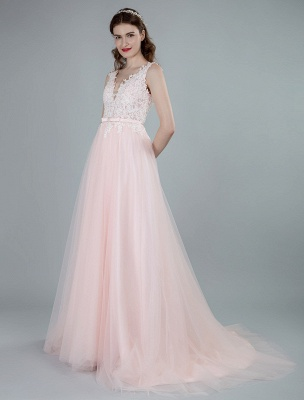 Wedding Dresses A Line Sleeveless Bows V Neck Bridal Dresses With Court Train Exclusive_5
