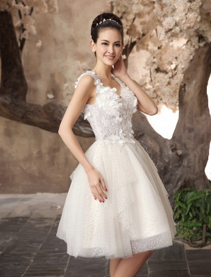 Ivory Backless Lace Applique Tulle Sequins Wedding Dress Exclusive_6