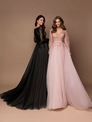Robe de mariée noire avec train A-ligne col en V manches longues dentelle balayage tulle dentelle robes de mariée_2