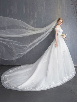 Princess Wedding Dresses Ball Gown Lace Beaded Chains Off The Shoulder Bridal Dress_6