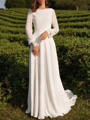 Simple Wedding Dress Lycra Spandex Bateau Neck Long Sleeves Lace A Line Bridal Gowns_3