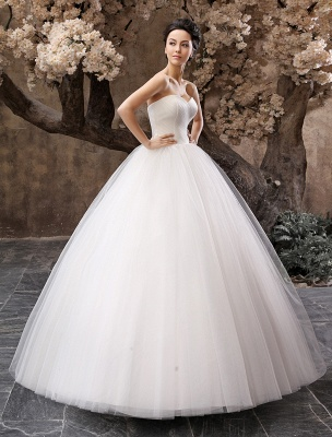 Princess Wedding Dresses 2021 Ball Gown White Maxi Strapless Sweetheart Neckline Tulle Floor Length Bridal Gowns_3