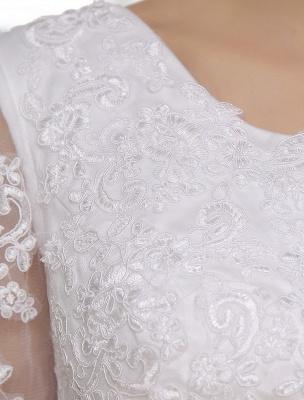 Einfache Brautkleider 2021 Kurze Spitze Applique Illusion Halbarm Tee Länge Brautkleid Exklusiv_7