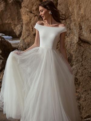 White Simple Wedding Dress A-Line Bateau Neck Off-Shoulder Sleeveless Natural Waistline Pleated Tulle Bridal Dresses_3