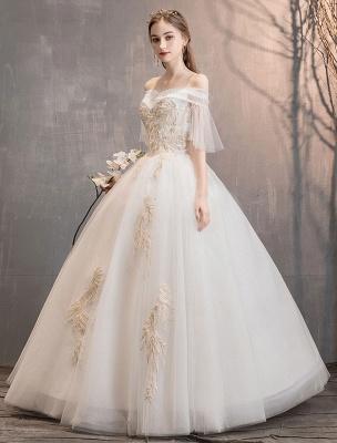 Prinzessin Brautkleid Elfenbein schulterfreies bodenlanges Brautkleid_3