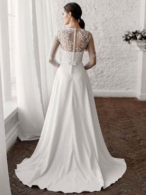 White Simple Wedding Dress A-Line Illusion Neckline Long Sleeves Pearls Trainsatin Fabric Lace Bridal Gowns_2
