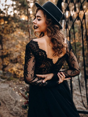 Black Wedding Dresses A-Line Designed Neckline Long Sleeves Natural Waistline Tulle Lace Sweep Bridal Gown_2