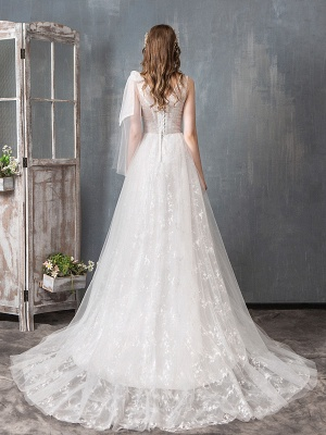 Summer Wedding Dresses 2021 Boho Beach A Line Bridal Dress Lace Applique Tulle Bridal Gown With Train_4