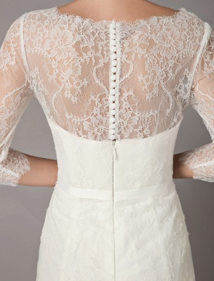 Wedding Dresses A Line Ivory V Neck Lace Tulle Half Sleeve Bridal Dress With Train_9