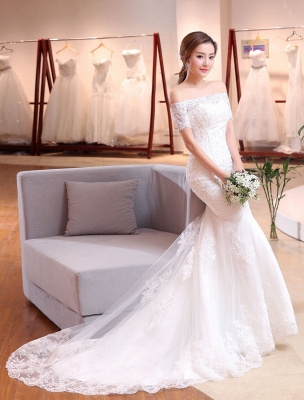 Mermaid Wedding Dresses Lace Beading Off The Shoulder Short Sleeve Fishtail Ivory Bridal Gown With Train_4