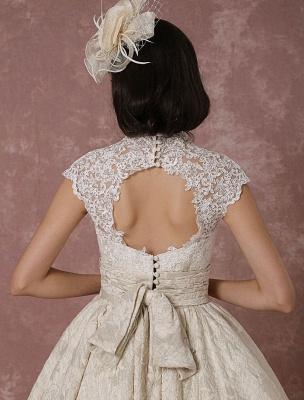 Kurzes Brautkleid Spitze Champagner Vintage Brautkleid Ballkleid Perlen Backless Tee-Länge Brautkleid Mit Schärpe Exklusiv_10