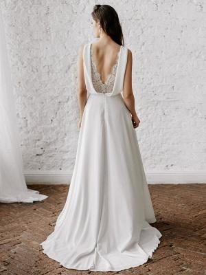 Vestido de novia blanco simple con tren Escote en V Sin mangas Sin espalda Encaje Una línea de vestidos de novia de gasa_3