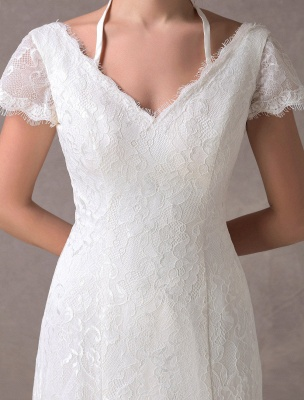 Lace Wedding Dresses Ivory V Neck Short Sleeve A Line Straps Bridal Gowns With Train Exclusive_8