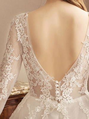 Ivory Wedding Dresses Lace Applique Jewel Neck 3/4 Length Sleeve Princess Bridal Gown With Train_8
