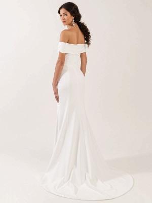 White Simple Wedding Dress Bateau Neck Sleeveless Natural Waist Backless Satin Fabric Long Mermaid Bridal Gowns_5
