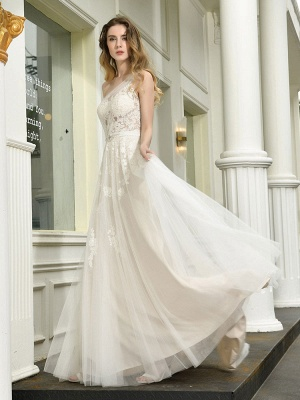 Bridal Dress 2021 One Shoulder Sleeveless Buttons Bridal Dresses With Train_1