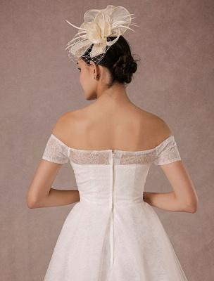 Kurzes Brautkleid Spitze Schulterfrei Mini A-Linie Vintage Brautkleid_8