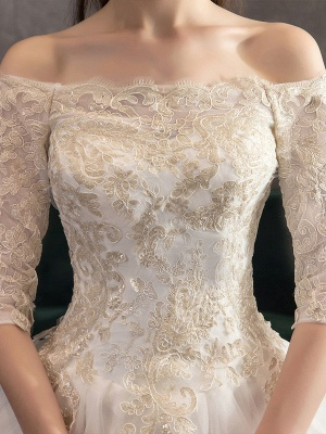 Princess-Wedding-Dresses-Ivory-Lace-Applique-Off-The-Shoulder-Half-Sleeve-Bridal-Gown-With-Train_7
