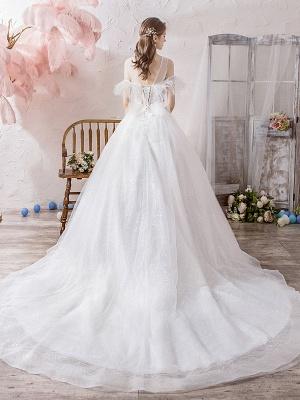 Wedding Dress Princess Silhouette Jewel Neck Short Sleeves Natural Waist Cathedral Train Bridal Dresses_3