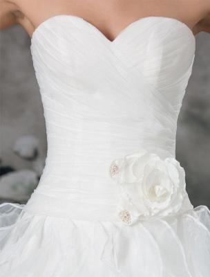 Glamouröses Elfenbein Gerafftes Herzausschnitt A-Linie Brautkleid aus Organza_7