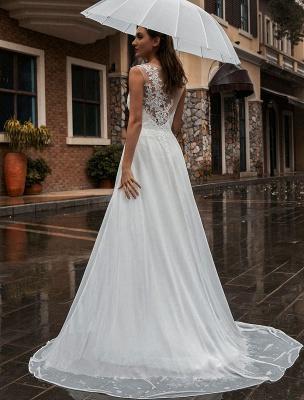 Weißes Brautkleid Illusion Ausschnitt Ärmellose Applikation Chiffon Bodenlangen Brautkleider Zug Kleid_4