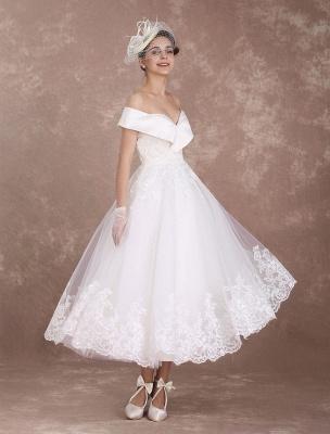 Vintage Wedding Dresses Off The Shoulder Short Bridal Dress 1950'S Lace Applique Beaded Tea Length Wedding Reception Dress Exclusive_1