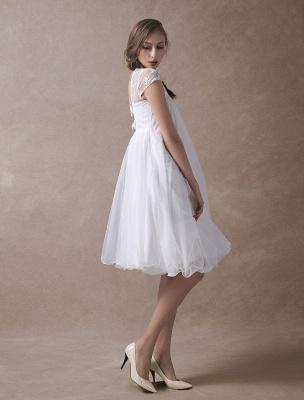 Simple Wedding Dresses Short Empire Waist Lace Tulle Cap Sleeve Pregnant Bridal Dress Exclusive_7