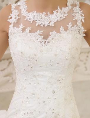 Elfenbeinfarbenes Duchesse-Linienkleid mit Juwelen-Ausschnitt und Pailletten Kapelle-Schleppe-Brautkleid exklusiv für die Braut_6