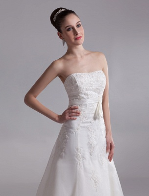 Elegant Ivory A-Line Strapless Rhinestone Tulle Bridal Wedding Dress_6