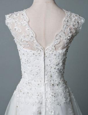 Vestido de novia vintage Hasta el té Cuello joya Sin mangas Una línea Cintura natural Tul Vestido de novia corto Exclusivo_6
