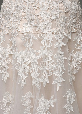 Wedding Dresses Champagne Tulle Strapless Sweatheart Lace Sash Bridal Gown_7