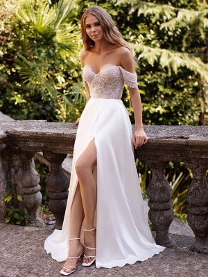 White Simple Wedding Dress Satin Fabric Strapless Sleeveless Cut Out A-Line Off The Shoulder Long Bridal Dresses_2