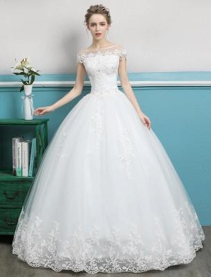 Prinzessin Brautkleider Ballkleider Spitze Perlen Elfenbein bodenlangen Brautkleid_1