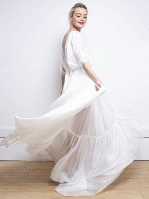 Weißes einfaches Hochzeitskleid A-Linie V-Ausschnitt Halbarm Rückenfrei Tüll Satin Stoff Lange Brautkleider_8