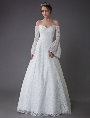 Princess Wedding Dresses Lace Off The Shoulder Long Sleeve A Line Floor Length Bridal Gown Exclusive_2