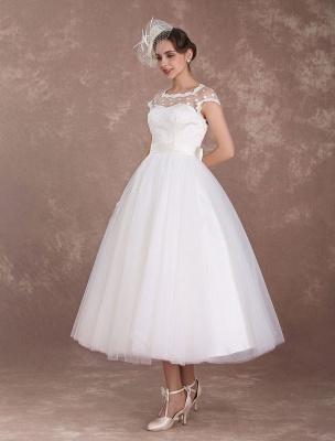 Kurze Brautkleider Vintage 50er Jahre Brautkleid Open Back Polka Dot Elfenbein A Line Tee Länge Hochzeitskleid Exklusiv_3