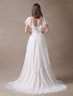 Glamorous Court Schleppe Elfenbein Brautkleid mit Perlenstickerei V-Ausschnitt Exklusiv_7
