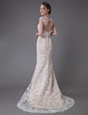 Spitzenhochzeitskleid Champagner Juwel Ärmellos Rückenfreies Meerjungfrau Brautkleid mit Schleppe Exklusiv With_8