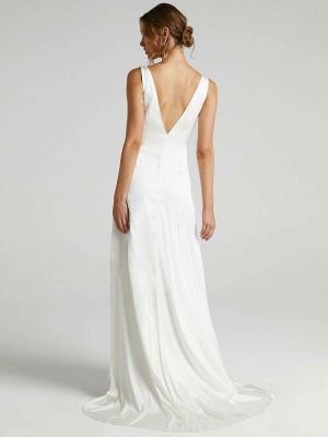 Weißes einfaches Brautkleid A-Linie V-Ausschnitt Ärmellos Rückenfreies Chiffon Brautkleider_3