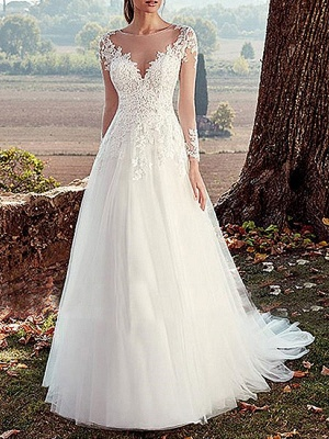 Wedding Dress 2021 V Nevk A Line Long Sleeve Floor Length Lace Applique Tulle Bridal Dresses With Train_1
