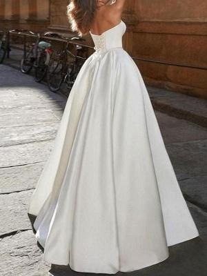 Vintage Brautkleid trägerlos ärmellos natürliche Taille Satin Stoff bodenlangen Bögen traditionelle Kleider für die Braut_2